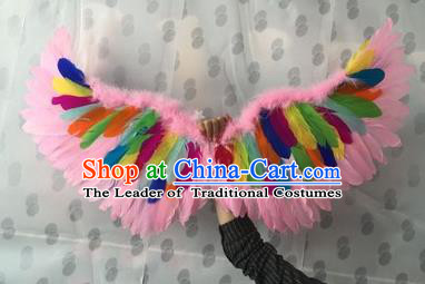 Top Grade Compere Professional Performance Catwalks Halloween Colorful Feather Wings, Traditional Brazilian Rio Carnival Dance Fancywork Clothing for Kids