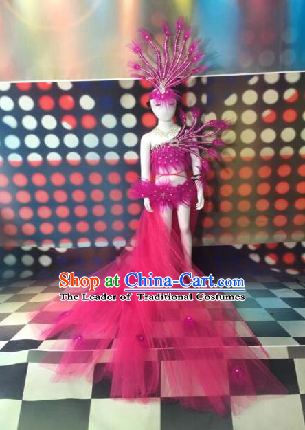Top Grade Compere Professional Performance Catwalks Pink Ostrich Feather Costumes and Headpiece, Traditional Brazilian Rio Carnival Samba Opening Dance Wings Swimsuit Clothing for Women