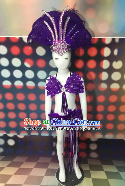 Top Grade Compere Professional Performance Catwalks Purple Feather Costumes and Headpiece, Traditional Brazilian Rio Carnival Samba Opening Dance Wings Swimsuit Clothing for Kids
