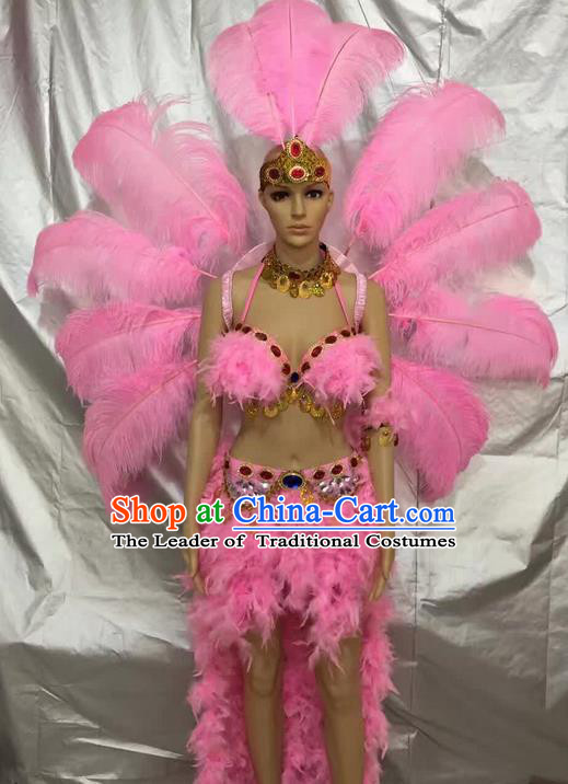 Top Grade Compere Professional Performance Catwalks Pink Feather Costumes, Traditional Brazilian Rio Carnival Samba Opening Dance Suits Modern Fancywork Swimsuit Clothing for Women