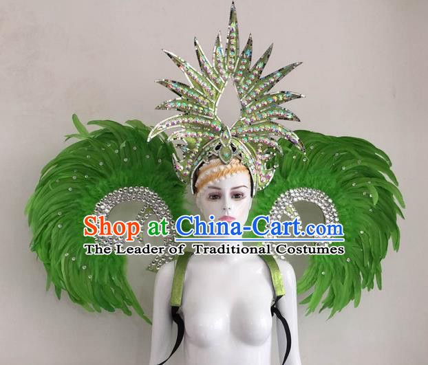 Top Grade Compere Professional Performance Catwalks Green Feather Wings and Headpiece, Traditional Brazilian Rio Carnival Samba Opening Dance Suits Modern Fancywork Swimsuit Clothing for Women