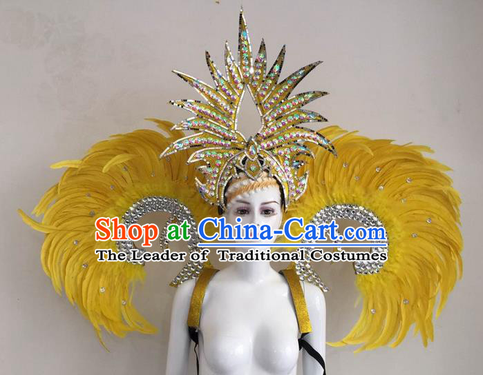 Top Grade Compere Professional Performance Catwalks Yellow Feather Wings and Headpiece, Traditional Brazilian Rio Carnival Samba Opening Dance Suits Modern Fancywork Swimsuit Clothing for Women