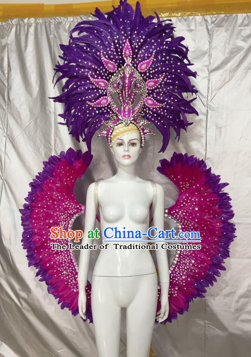 Top Grade Compere Professional Performance Catwalks Costumes and Headpiece, Traditional Brazilian Rio Carnival Samba Dance Rosy Feather Wings Suit Fancywork Clothing for Kids
