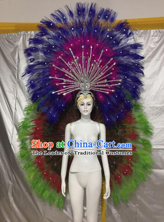 Top Grade Compere Professional Performance Catwalks Green Feather Wings Costume and Headpiece, Traditional Brazilian Rio Carnival Samba Opening Dance Suits Clothing for Women