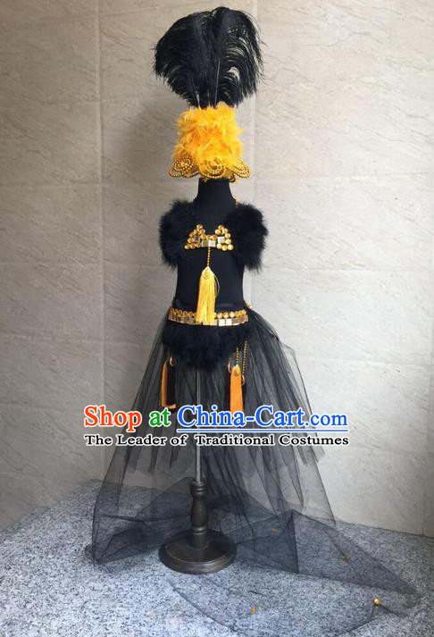 Top Grade Compere Professional Performance Catwalks Costume and Headwear, Traditional Brazilian Rio Carnival Samba Opening Dance Custom-made Customized Swimsuits Bikini Clothing for Kids