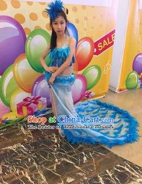 Top Grade Compere Professional Performance Catwalks Blue Swimsuit, Children Chorus Feather Formal Dress Modern Dance Modern Fancywork Long Trailing Dress for Kids