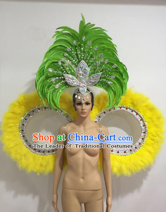 Top Grade Professional Performance Catwalks Feather Dance Feather Backboard and Giant Headpiece, Stage Show Brazil Carnival Props Accessories Decorations for Women