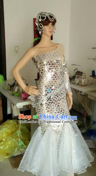 Top Grade Professional Performance Catwalks Costumes, Stage Show Brazil Carnival Samba Dance White Clothing for Women