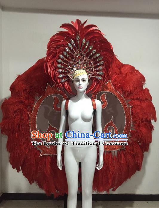 Top Grade Compere Professional Performance Catwalks Red Feather Wings Costume and Headpiece Accessories Decorations, Traditional Brazilian Rio Carnival Samba Opening Dance Suits Modern Fancywork Clothing for Women
