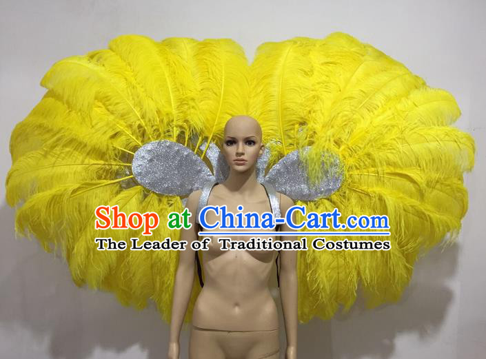 Top Grade Professional Stage Show Catwalks Yellow Feather Wings, Brazilian Rio Carnival Samba Opening Dance Custom-made Customized Props Clothing for Women