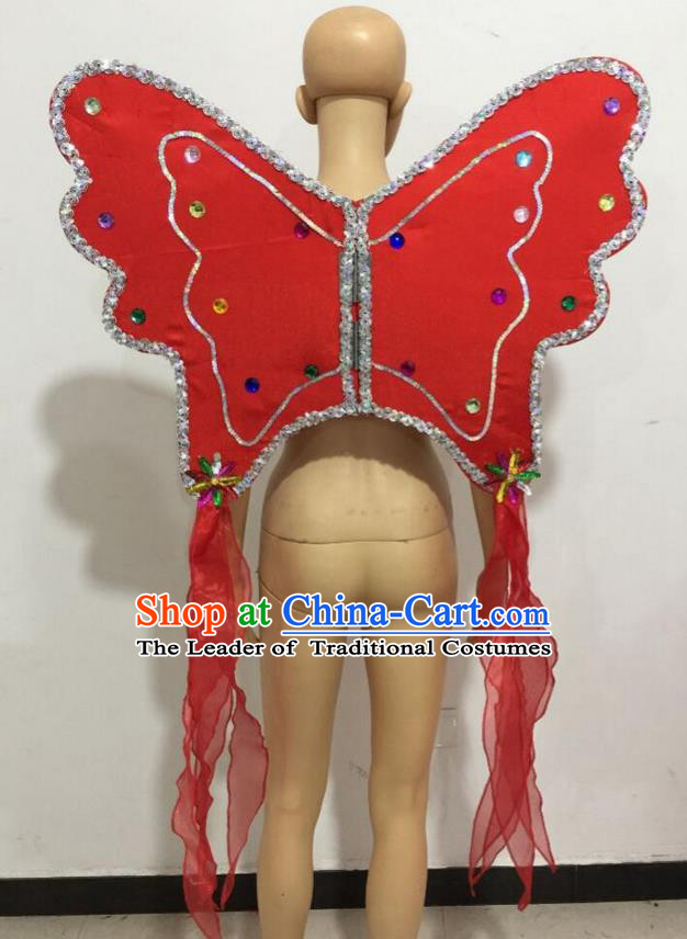 Top Grade Professional Stage Show Catwalks Halloween Red Butterfly Wings, Brazilian Rio Carnival Samba Opening Dance Custom-made Customized Backboard Accessories Props for Women