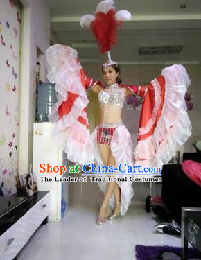 Top Grade Professional Stage Show Catwalks Halloween Dance Red Feather Costumes and Headpiece, Brazilian Rio Carnival Samba Opening Dance Dress Custom-made Customized Big Swing Clothing for Women