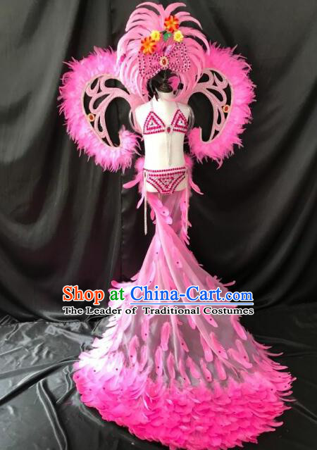 stage show catwalks halloween dance pink feather bikini costumes