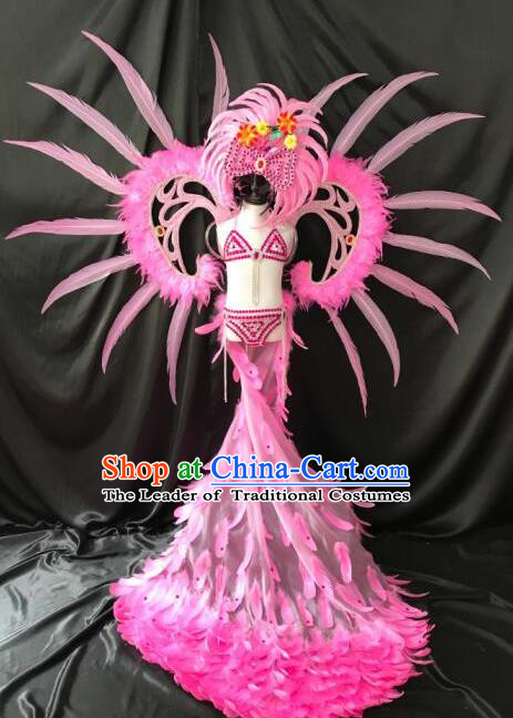 Top Grade Professional Stage Show Catwalks Halloween Wings Pink Long Feather Bikini Costumes and Headpiece, Brazilian Rio Carnival Samba Opening Dance Modern Fancywork Long Trailing Dress Clothing for Kids