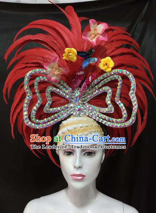 Top Grade Professional Stage Show Catwalks Brazil Parade Giant Red Feather Headpiece, Brazilian Rio Carnival Samba Opening Dance Modern Fancywork Big Hat Decorations for Women