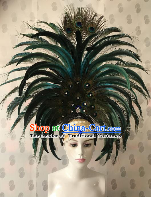 Top Grade Professional Stage Show Catwalks Brazil Parade Giant Green Feather Headpiece, Brazilian Rio Carnival Samba Opening Dance Modern Fancywork Big Head Decorations for Women