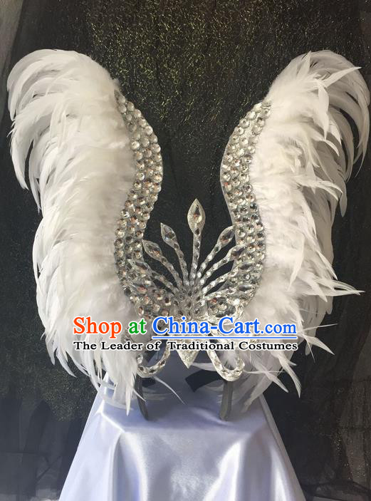 Top Grade Professional Stage Show Catwalks Brazil Halloween White Feather Deluxe Headpiece, Brazilian Rio Carnival Samba Opening Dance Modern Fancywork Big Hair Accessories for Women