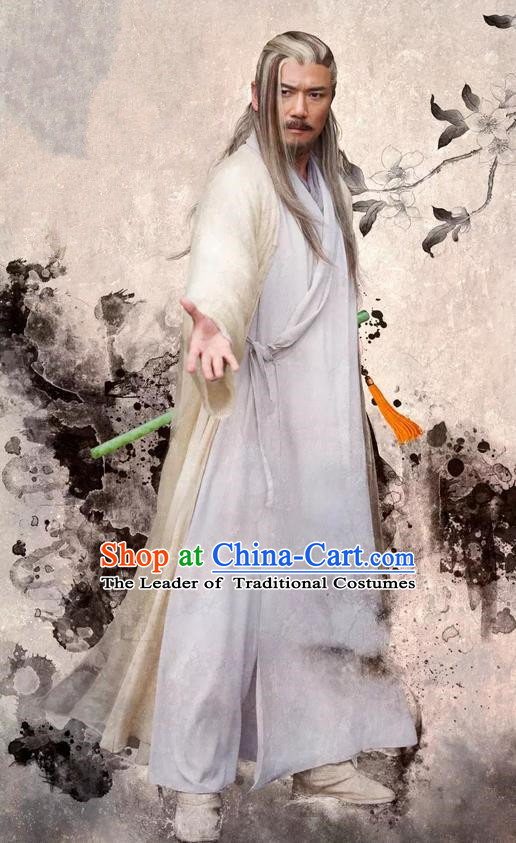 Traditional Ancient Chinese Old Hero Costume, The Legend of the Condor Heroes Chinese Song Dynasty Pharmacist Huang Swordsman Clothing for Men