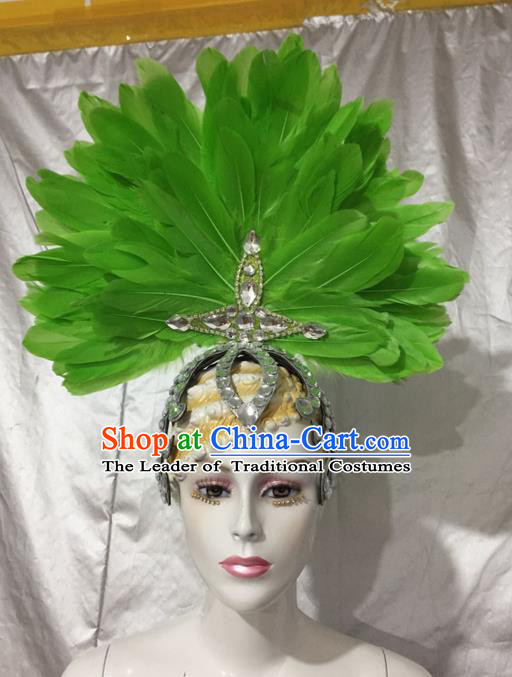Top Grade Professional Stage Show Catwalks Brazil Crystal Headpiece Hat, Brazilian Rio Carnival Samba Opening Dance Modern Fancywork Green Feather Headwear for Women