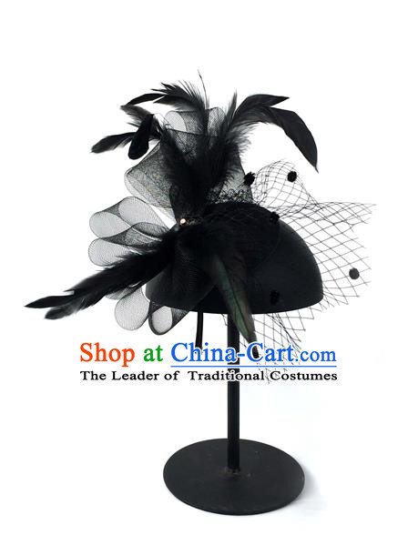 Top Grade Chinese Theatrical Luxury Vintage Hair Accessories Top Hat, Halloween Fancy Ball Asian Traditional Model Show Black Veil Headwear for Women