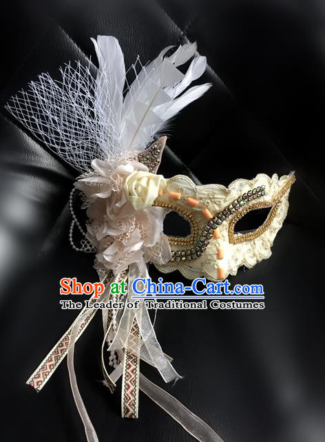 Top Grade Chinese Theatrical Luxury Headdress Ornamental Beige Lace Mask, Halloween Fancy Ball Ceremonial Occasions Handmade Face Mask for Women