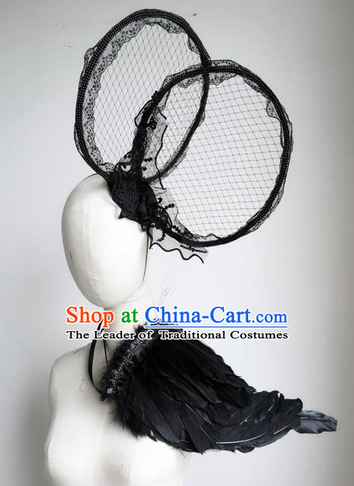 Top Grade Chinese Theatrical Luxury Headdress Ornamental Black Feather Headwear and Wings, Halloween Fancy Ball Ceremonial Occasions Handmade Accessories for Women