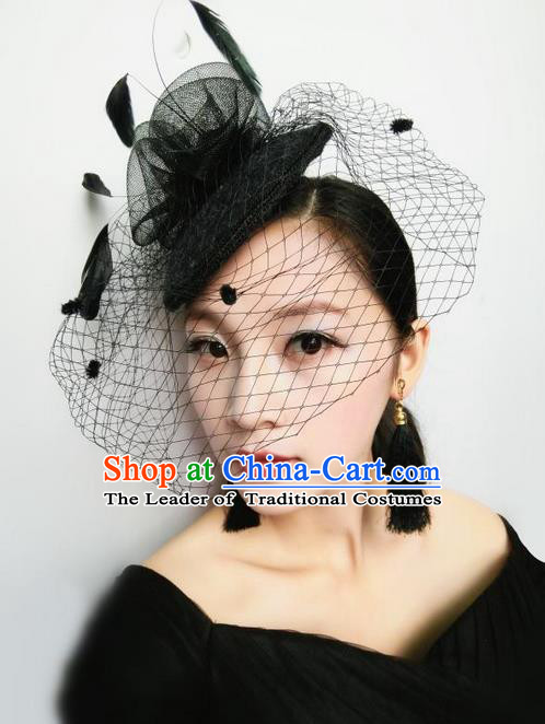 Top Grade Chinese Theatrical Luxury Headdress Ornamental Black Top Hat, Halloween Fancy Ball Ceremonial Occasions Handmade Veil Hair Accessories for Women