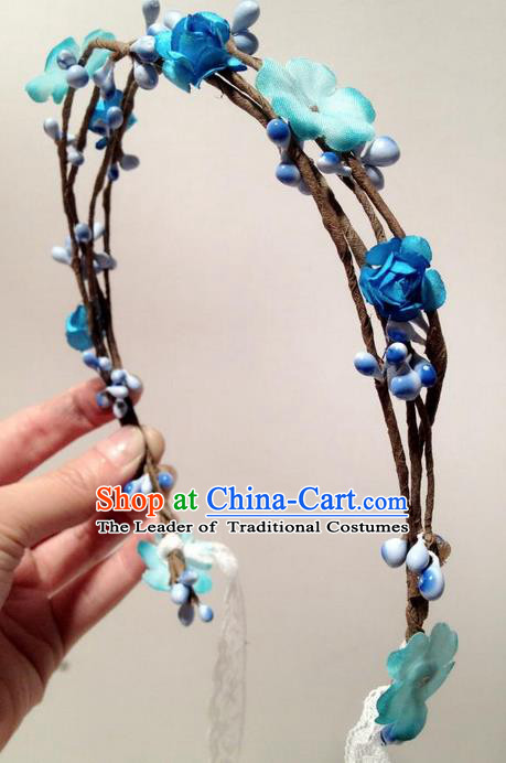 Top Grade Chinese Theatrical Luxury Headdress Ornamental Blue Flowers Hair Clasp, Halloween Fancy Ball Ceremonial Occasions Handmade Hair Accessories for Women