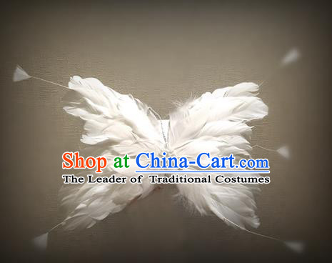 Top Grade Chinese Theatrical Luxury Headdress Ornamental White Butterfly Hair Clasp, Halloween Fancy Ball Ceremonial Occasions Handmade Feather Hair Accessories for Women