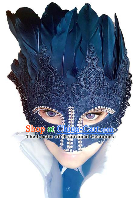 Top Grade Chinese Theatrical Headdress Traditional Ornamental Blue Feather Mask, Brazilian Carnival Halloween Occasions Handmade Mask for Men