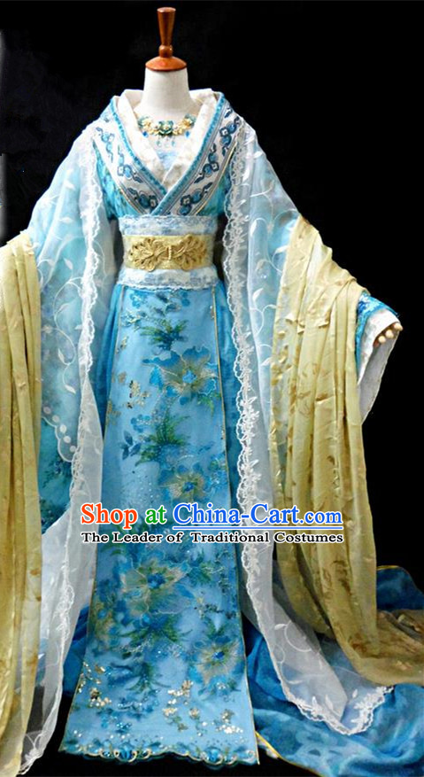 Traditional Ancient Chinese Young Lady Blue Princess Costume, Chinese Tang Dynasty Noble Lady Dress Clothing for Women