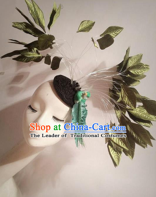 Top Grade Chinese Theatrical Traditional Ornamental Leaf Hair Clasp, Brazilian Carnival Halloween Occasions Handmade Headwear Top Hat for Women