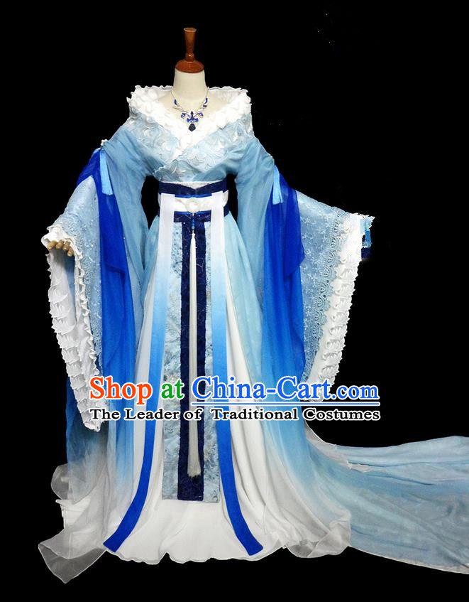 Traditional Ancient Chinese Young Lady Fairy Blue Costume, Chinese Tang Dynasty Princess Embroidered Dress Clothing for Women