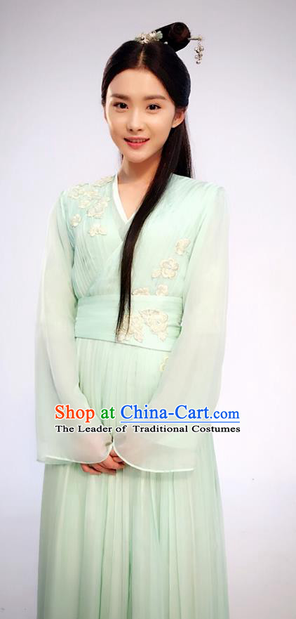Traditional Ancient Chinese Maidservant Costume and Headpiece Complete Set, Princess Agents Chinese Southern and Northern Fairy Young Lady Embroidered Dress Clothing