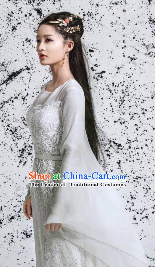 Traditional Ancient Chinese Young Lady Costume and Headpiece Complete Set, Princess Agents Chinese Southern and Northern Imperial Princess Embroidered Elegant Dress Clothing