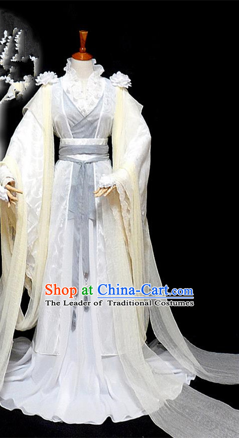 Traditional Ancient Chinese Young Lady Princess White Dance Costume, Chinese Tang Dynasty Noble Lady Fairy Dress Hanfu Clothing for Women