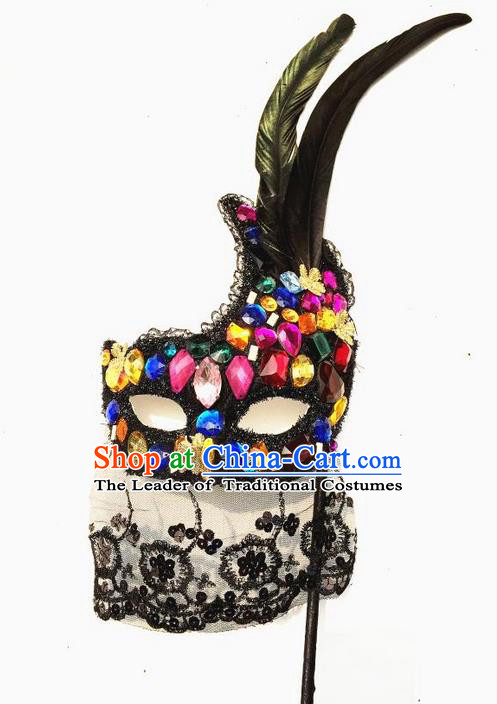 Top Grade Chinese Theatrical Headdress Ornamental Crystal Mask, Brazilian Carnival Halloween Occasions Handmade Miami Debutante Mask for Women