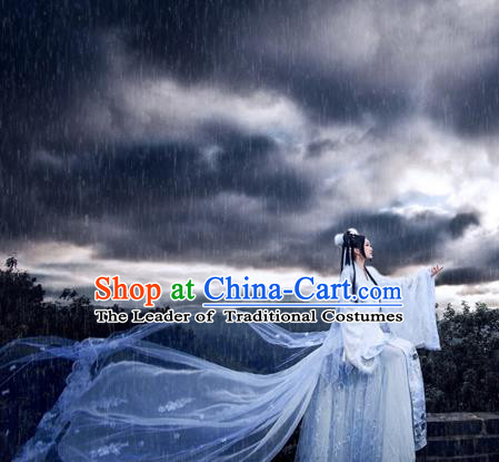 Traditional Ancient Chinese Young Lady White Costume, Chinese Tang Dynasty Imperial Princess Fairy Dress Hanfu Embroidered Clothing for Women