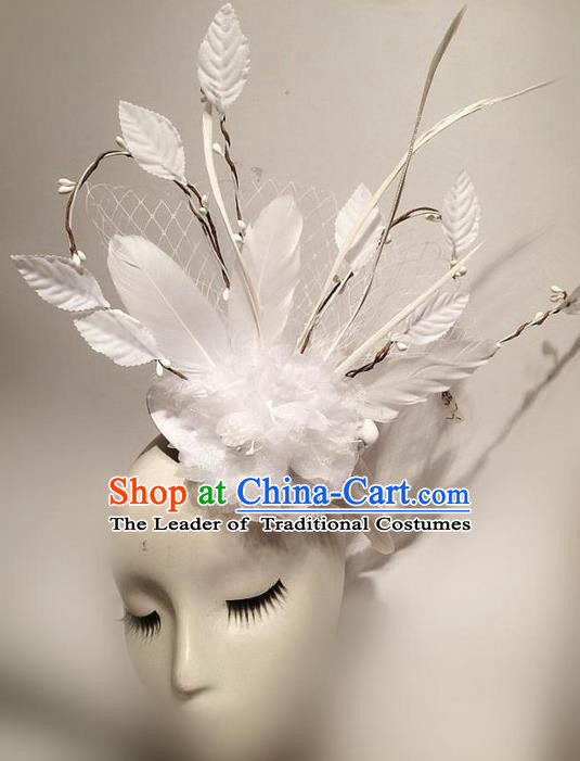 Top Grade Asian Headpiece Headdress Ornamental White Veil Headwear, Brazilian Carnival Halloween Occasions Handmade Miami Feather Hair Clasp for Women