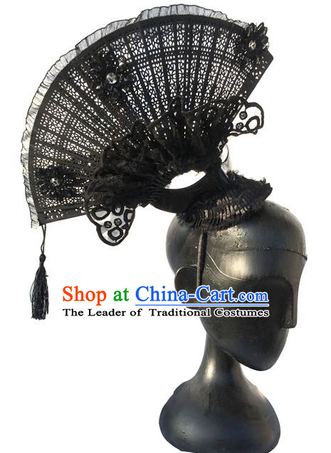 Top Grade Miami Deluxe Asian Chinese Black Fan Tassel Hair Accessories, Halloween Brazilian Carnival Occasions Model Show Handmade Hair Clasp Headwear for Women
