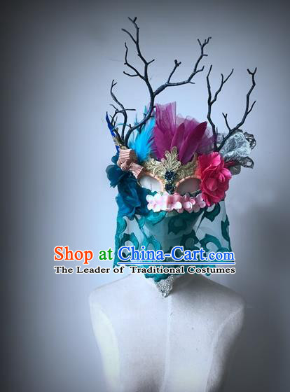 Top Grade Deluxe Baroque Headdress Accessories Flowers Mask, Halloween Brazilian Carnival Occasions Model Show Handmade Feather Mask for Women