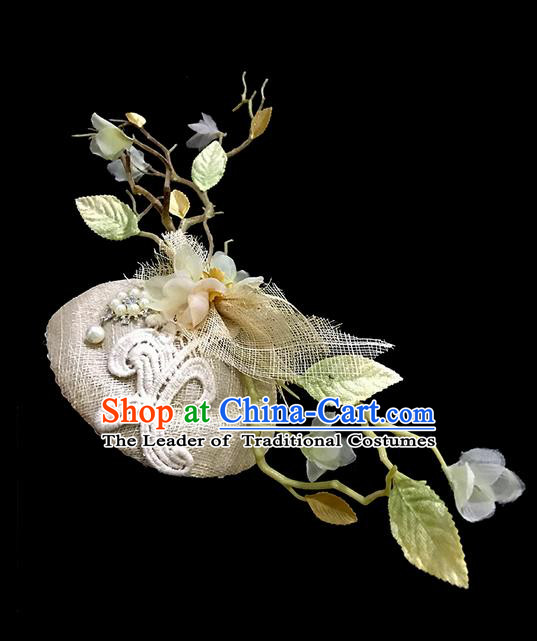 Top Grade Deluxe Catwalks Headdress White Branch Top Hat, Halloween Brazilian Carnival Occasions Model Show Handmade Bride Flowers Headwear for Women