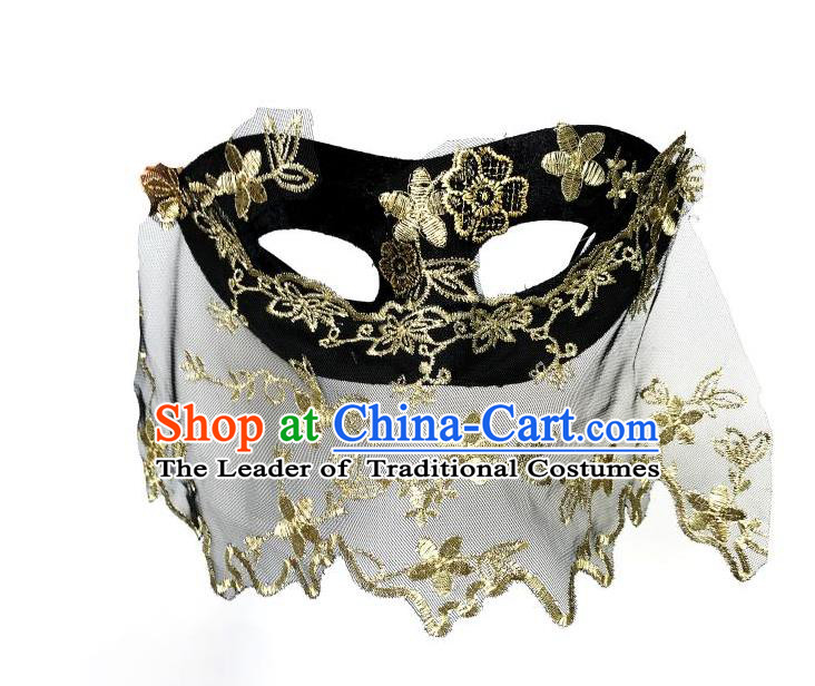Top Grade Asian Headpiece Headdress Ornamental Cosplay Embroidery Golden Flowers Mask, Brazilian Carnival Halloween Occasions Handmade Miami Vintage Mask for Women
