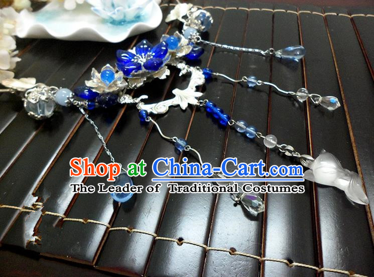 Top Grade Handmade Traditional China Handmade Jewelry Accessories Blue Crystal Necklace, Ancient Chinese Princess Conophytum Pucillum Tassel Collar for Women