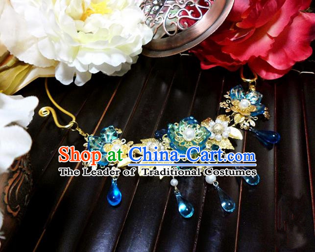Top Grade Handmade Traditional China Handmade Jewelry Accessories Blue Crystal Necklace, Ancient Chinese Princess Conophytum Pucillum Tassel Pearl Collar for Women