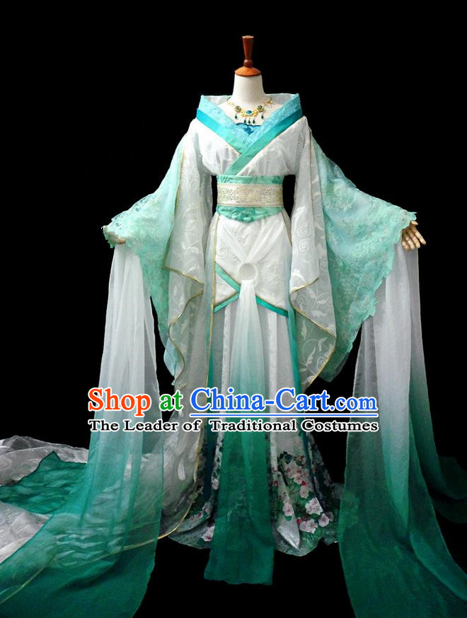 Traditional Ancient Chinese Fairy Dance Costume, Chinese Tang Dynasty Imperial Princess Water Sleeve Dress Hanfu Embroidered Clothing for Women