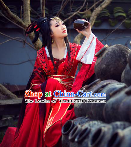 Traditional Ancient Chinese Swordswoman Fairy Dance Costume, Chinese Tang Dynasty Imperial Princess Wedding Dress Hanfu Embroidered Red Clothing for Women