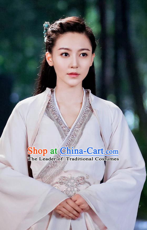 Traditional Ancient Chinese Princess Costume and Headpiece Complete Set, Princess Agents Chinese Southern and Northern Imperial Lady Embroidered Elegant Dress Clothing