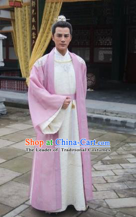 Traditional Ancient Chinese Imperial Prince Costume and Handmade Headpiece Complete Set, China Song Dynasty Nobility Scholar Embroidered Robes Clothing
