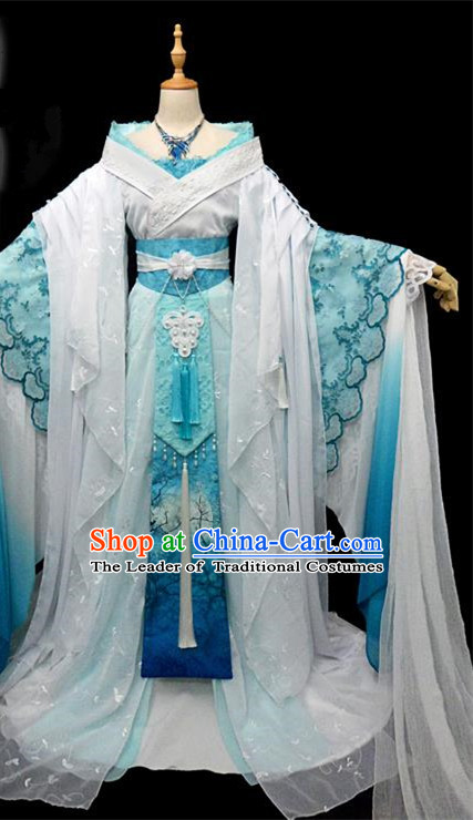 Traditional Ancient Chinese Imperial Concubine Fairy Costume, Chinese Tang Dynasty Princess Blue Dress Hanfu Embroidered Clothing for Women